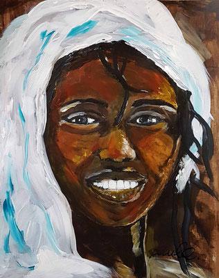 'Happy as a child' III Acryl op papier 40 x 50 cm Geinspireerd op de herfstkleuren van de Echinacea , een paddestoel en de spontane smile van afrikaanse kinderen uit Ethiopie en Namibie. Prijs per stuk € 750,--