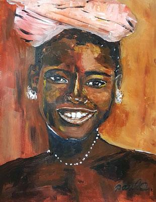 'Happy as a child' I Acryl op papier 40 x 50 cm. Geinspireerd op de herfstkleuren van de Echinacea , een paddestoel en de spontane smile van afrikaanse kinderen uit Ethiopie en Namibie.  Prijs per stuk € 750,--