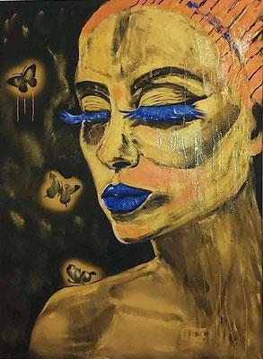 """Áttraction"""" Acryl op Linnen, 120 x 160 cm. De betekenis en uitbeelding is... 'de aantrekkingskracht van getuite lippen en de aantrekkingskracht van honing."""