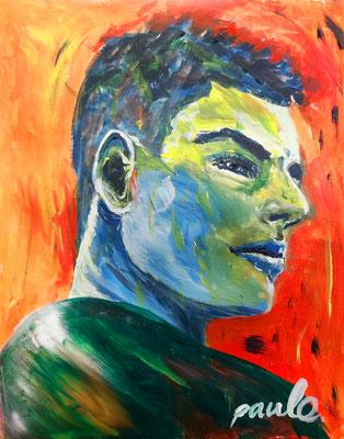 Max, acryl op papier 40 x 50 cm. Verkocht