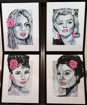 Serie beroemde Actrices, Acrylschets inclusief museale inlijsting 50 x 60 cm per stuk € 995,-- BB, Sophia Loren, Marilyn Monroe, Audrey Hepburn.