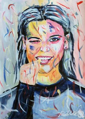 Uit de serie 'faces with hand', Acryl op papier 70 x 50 cm.