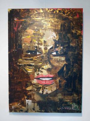 Fay, ogen en blik, Acryl op 3D Alu Linnen 100 x 140 cm. Prijs op aanvraag.