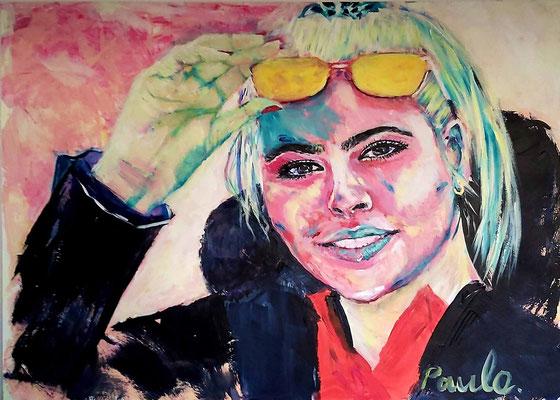 Alexia, hier nog puber maar al zo sympathiek en volwassen. Acryl op papier 50 x 70 cm
