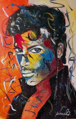 """Prince"" trendsetter in music en inspirator voor vele, ondeugend, Acryl 3D linnen 80 x 120 cm"