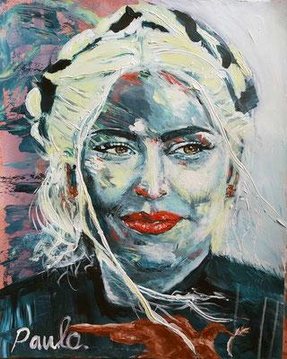 Lady Gaga, Inauguratie Joe Biden. President of the USA. Acryl op papier 40 x 50 cm.