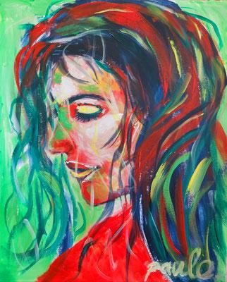 'Lady in red' acryl op papier 40 x 50 cm.