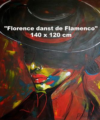 'Florence danst de Flamenco', Acryl op 3D Linnen 120 x 140 cm. Prijs op aanvraag.