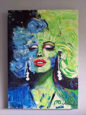 Marilyn Monroe, Legend en worldwide none pose, Acryl op 3 D Linnen 100 x 140 cm. Prijs op aanvraag.
