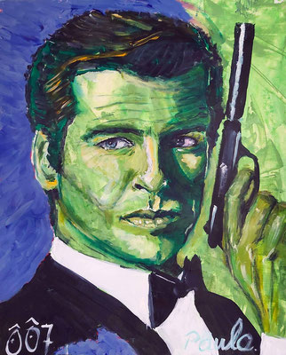 Uit de serie Bond, James Bond,  Pierce Brosnan, Acryl op papier 40 x 50 cm.