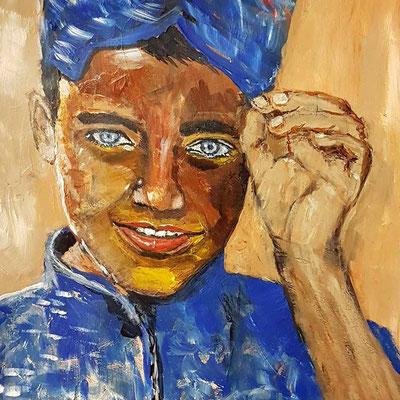 'De glimlach van een kind' I, acryl op papier 40 x 50 cmPrijs per stuk € 775,--  Inspiratie is Afghanistan en  de kleur van Latte Macchiato
