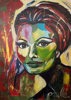 Sophia Loren  Acryl/epoxy op 3D alu-linnen 120 x 140 cm. Prijs op aanvraag.
