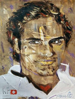 Roger Federer, onovertrefbaar in alle opzichten, Acryl op papier 40 x 50 cm.