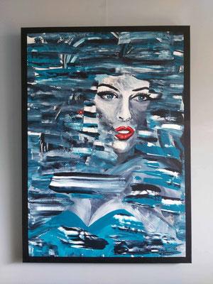 Aqua, Acryl 3D linnen 100 x 140 cm. Prijs op aanvraag.