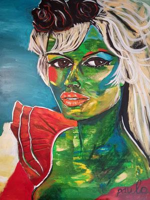 Brigitte Bardot, Acryl / hars op Linnen 120 x 160 cm. Prijs op aanvraag.