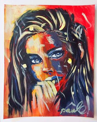 Uit de serie 'faces with hand' 'Hoopvol' acryl op papier40 x 50 cm.