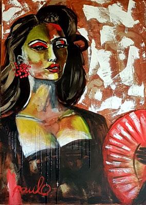 Ladies on the move 'Lady Cordoba', Acryl/hars 3D linnen 100 x 140 cm. Juweel met bloedkoraal op zilver. Prijs op aanvraag.