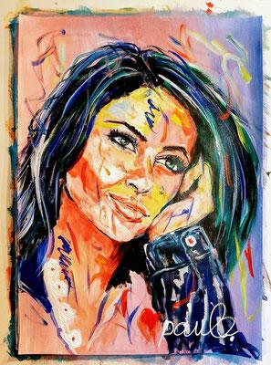 Uit de serie 'faces with hand' my niece,  Acryl op papier 70 x 50 cm.