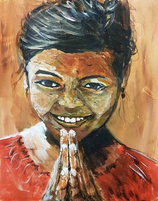 'Happy as a child' IV Acryl op papier 40 x 50 cm. Geinspireerd op de herfstkleuren van de Echinacea, een paddestoel en de spontane smile van afrikaanse kinderen uit Ethiopie en Namibie.  Prijs per stuk € 750,--