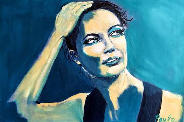 Romy Schneider, eyes that never forget, Acryl op 3D linnen 80 x 120 cm