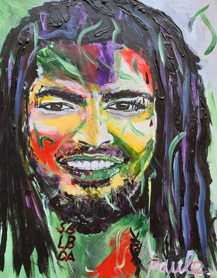 Sean William Bogaers, kleurrijk. Acryl op papier 40 x 50 cm.