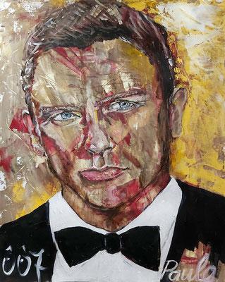 Bond, James Bond, Danie Craig, keihard!, Acryl op papier 40 x 50 cm.