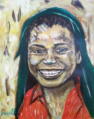 'De glimlach van een kind' V, acryl op papier 40 x 50 cm. Prijs per stuk € 775,--  Inspiratie is Afrika
