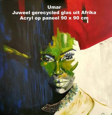 Umar, Acryl op paneel 90 x 90 cm met een juweel van gerecycled glas uit Afrika