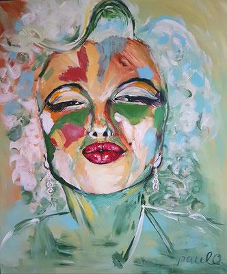 Marilyn Monroe/Madonna, beide van enorme betekenis, Acryl op 3 D Linnen 120 x 140 cm. Prijs op aanvraag.