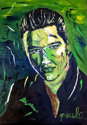 Elvis, 'Return to sender' never dies, 60 x 90 cm. Acryl op paneel