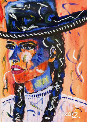 Señorita Andalusia, acryl op papier 70 x 50 cm.
