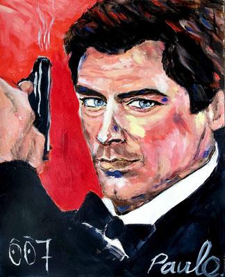 Bond, James Bond, Timothy Dalton, veranderde Bond in een 'schurk'. Acryl op papier 40 x 50 cm.