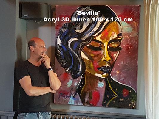 Ladies on the move 'Lady 'Sevilla', Acryl/hars 3D linnen 100 x 120 cm. Prijs op aanvraag.