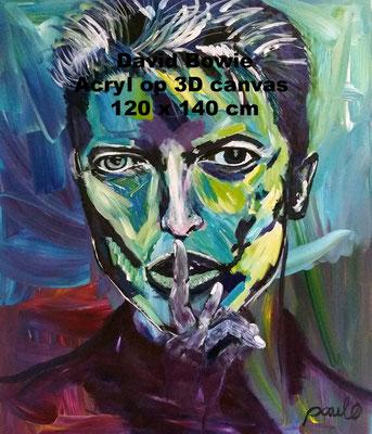 David Bowie, 'Lets Dance',  opmerkelijk en iedere keer anders. Acryl op 3D Linnen 120 x 140 cm. Prijs op aanvraag.