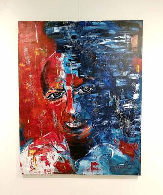 Pablo Picasso, the master himself, Acryl op 3D linnendoek 120 x 150 cm