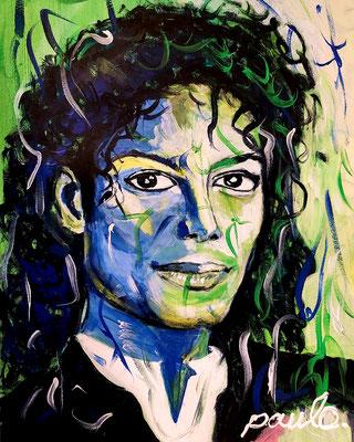 MJ ,  'Thriller', acryl op papier 70 x 50 cm. Ook in Giclee te verkrijgen