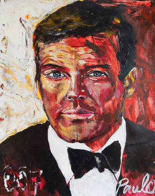 Uit de serie Bond, James Bond, Roger Moore, Acryl op papier 40 x 50 cm.