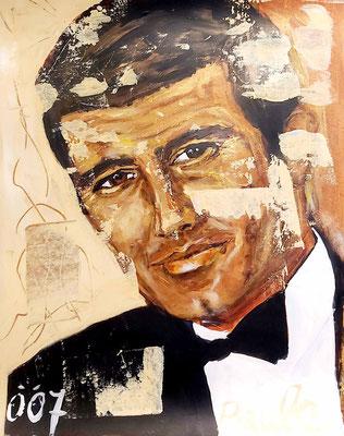 Bond, James Bond, George Lazenby, acryl op papier 40 x 50 cm