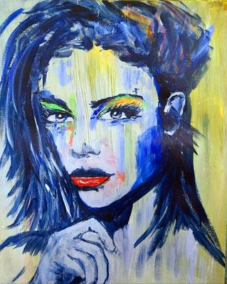 """Uit de serie 'faces with hand' """"Think about it..."""" acryl op papier 40 x 50 cm."""