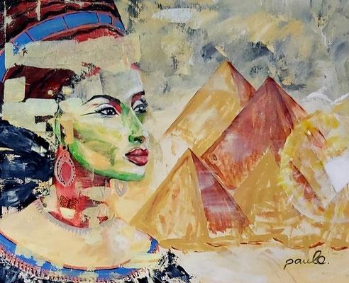Nefertiti, 'zandstormen' acryl op linnen 140 x 120 cm. Prijs op aanvraag.