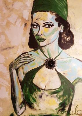Ladies on the move 'Lady Grananda', travel, Acryl 3D linnen 100 x 140 cm. Juweel is koper met glassteen. Prijs op aanvraag.