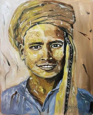 'De glimlach van een kind' II, acryl op papier 40 x 50 cm. Prijs per stuk € 775,--  Inspiratie is Afghanistan en  de kleur van Latte Macchiato