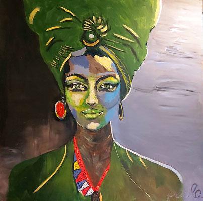 Zhenga, Acryl op paneel 120 x 122 cm