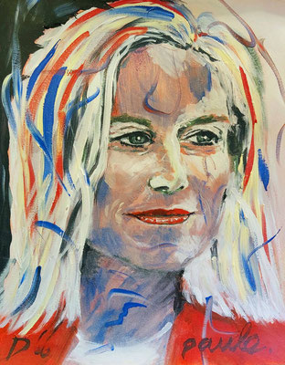 Sigrid Kaag D66 politica, mother future?, Acryl op papier 40 x 50 cm.