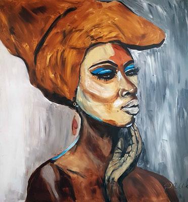 """""""Sitaana"""" afrikaans voor filmster, Acryl op paneel 120 x 122 cm, met koperen Sierraad (druppels)"""