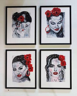 Andalusia is on my mind IV, Acrylschets inclusief museale inlijsting 50 x 60 cm 4 voor € 2.500,--   / per stuk € 750,--