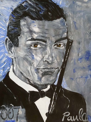 Bond, James Bond,  Sean Connery, the one and only. Acryl op papier 40 x 50 cm.