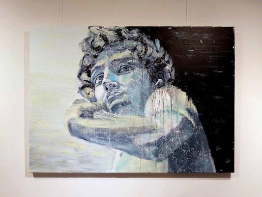 David, Michelangelo, mixed media, acryl op 3D alu linnen 100 x 140 cm