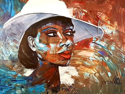 Wat vertelt zij jou? Diana Ross 'Mahogany' Acryl op 3D Alu-linnen 120 x 160 cm. Prijs op aanvraag.