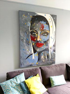 'To catch some's eyes' Acryl / epoxy 3D linnen 120 x 160 cm